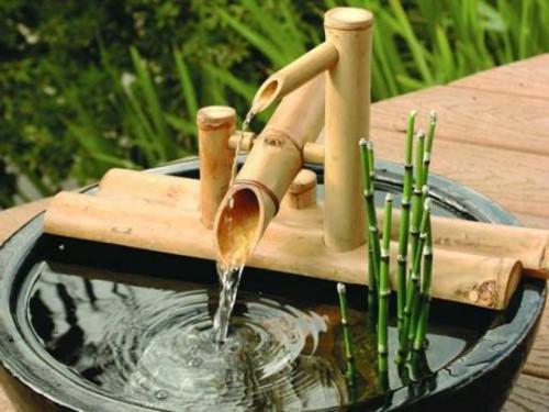 Imagenes De Lindas Fuentes De Bambu Para Decorar El Jardin